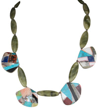 Load image into Gallery viewer, Santo Domingo Kewa Pueblo Turquoise and Shell Necklace by Crespin SKU230056