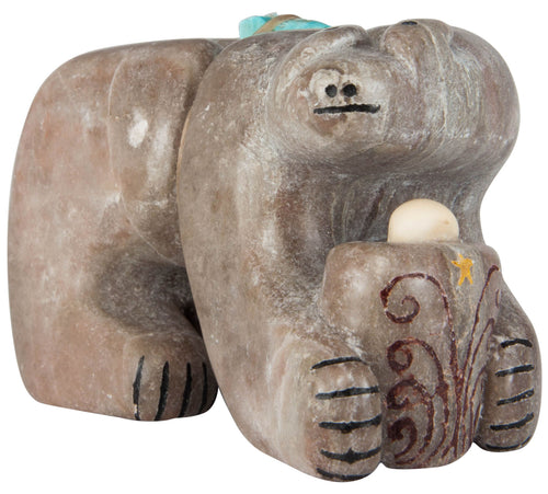 Zuni Native American Turquoise and Marble Bear Fetish by Kallestewa SKU230076