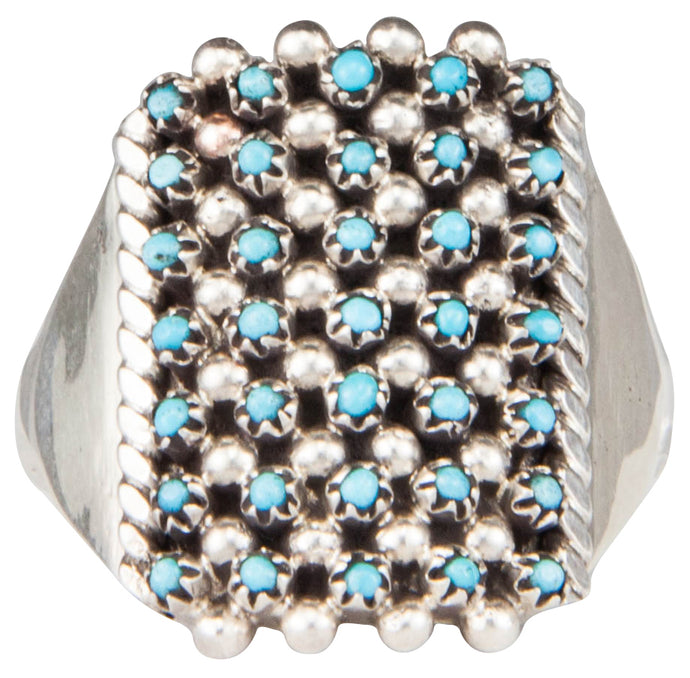 Zuni Native American Petit Point Turquoise Ring Size 8 by Amesoli SKU230162