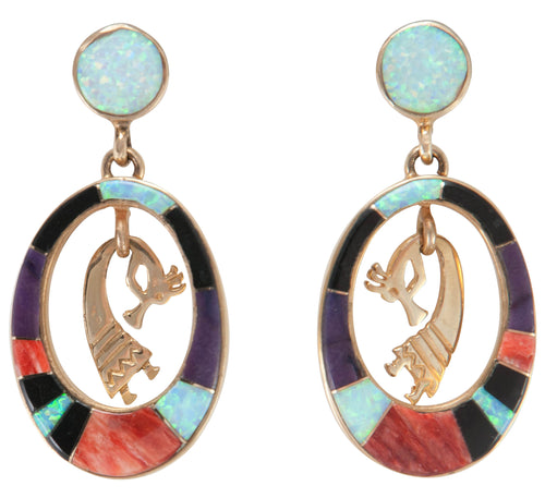 Navajo Native American 14K Yellow Gold Kokopelli Earrings by John SKU230192