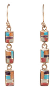 Navajo Native American Sleeping Beauty Turquoise 14k Gold Earrings SKU230199