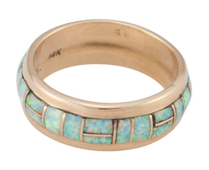 Zuni Native American Lab Opal and 14k Yellow Gold Ring Size 8 1/4 SKU230205