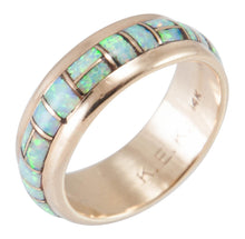 Load image into Gallery viewer, Zuni Native American Lab Opal and 14k Yellow Gold Ring Size 8 1/4 SKU230205