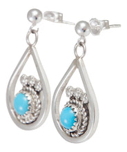 Load image into Gallery viewer, Navajo Native American Sleeping Beauty Turquoise Earrings by Chee SKU230216