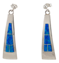 Load image into Gallery viewer, Zuni Native American Blue Created Opal Earrings by Latoya Aistewa SKU230227
