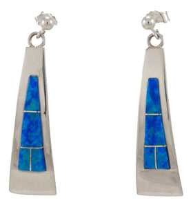 Zuni Native American Blue Created Opal Earrings by Latoya Aistewa SKU230227