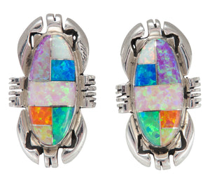 Zuni Native American Created Opal Inlay Post Earrings SKU230232