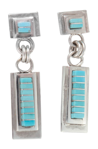 Zuni Native American Channel Inlay Turquoise Post Earrings SKU230238