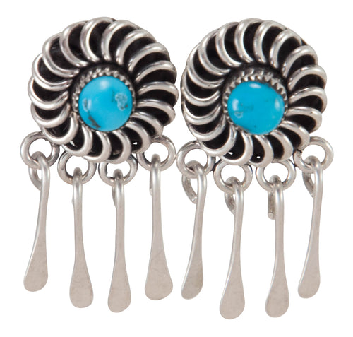 Zuni Native American Sleeping Beauty Turquoise Earrings by Lementino SKU230256