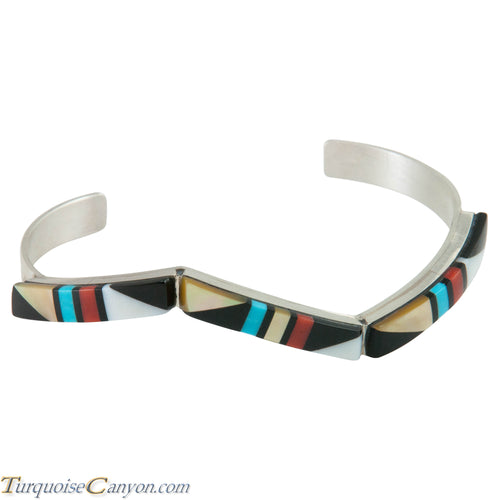 Zuni Native American Turquoise, Coral and Shell Inlay Bracelet SKU230297