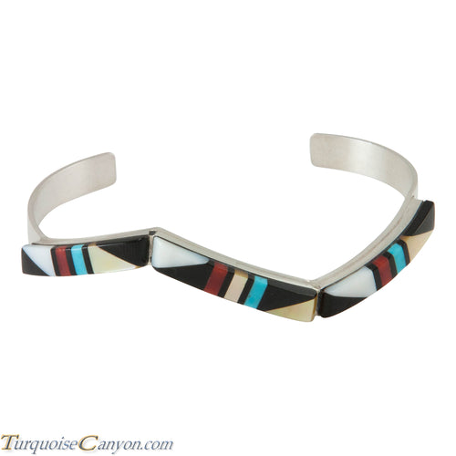 Zuni Native American Turquoise, Coral and Shell Inlay Bracelet SKU230298