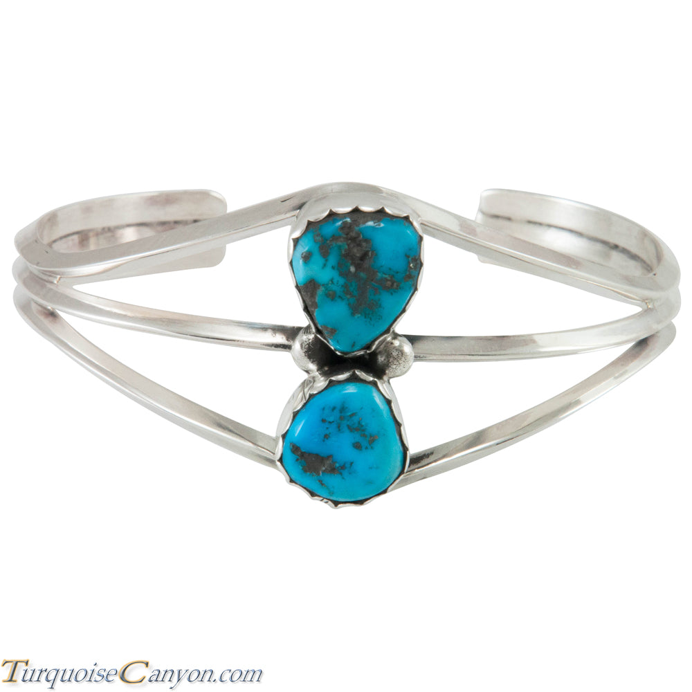 Navajo Native American Handcrafted Kingman Mine Turquoise Bracelet SKU230300
