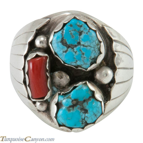 Navajo Native American Kingman Turquoise and Coral Ring Size 10 1/2 SKU230343