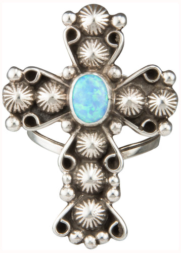 Navajo Native American Lab Opal Cross Ring Size 10 1/2 by Apachito SKU230379