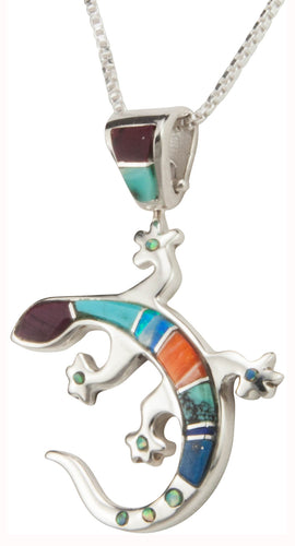 Navajo Native American Turquoise and Shell Gecko Pendant Necklace SKU230398