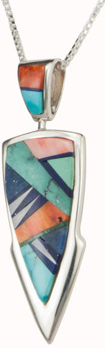 Navajo Native American Turquoise Inlay Pendant Necklace by Willie SKU230422
