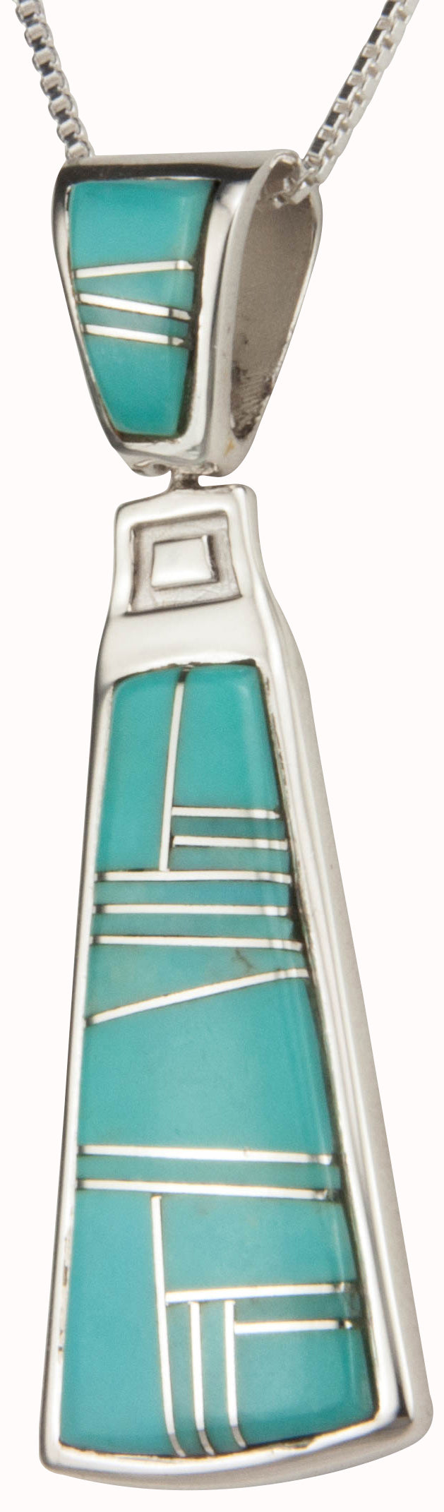 Navajo Native American Kingman Turquoise Inlay Pendant Necklace SKU230429