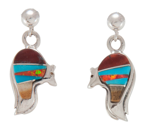 Navajo Native American Turquoise Inlay Bear Earrings by Willie SKU230433