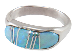 Navajo Native American Created Opal Inlay Ring Size 7 3/4 by B Joe SKU230441