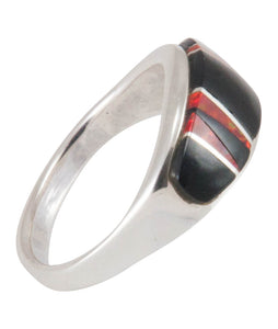 Navajo Native American Black Jade and Created Opal Ring Size 7 SKU230444