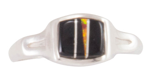 Navajo Native American Black Jade and Created Opal Ring Size 8 3/4 SKU230445