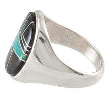 Load image into Gallery viewer, Navajo Native American Black Jade and Created Opal Ring Size 10 1/2 SKU230446