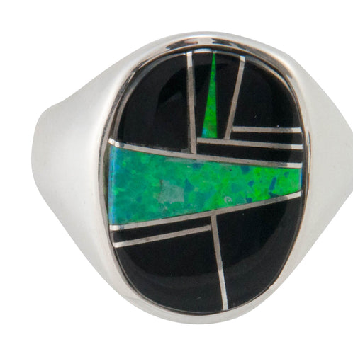 Navajo Native American Black Jade and Created Opal Ring Size 10 1/2 SKU230446