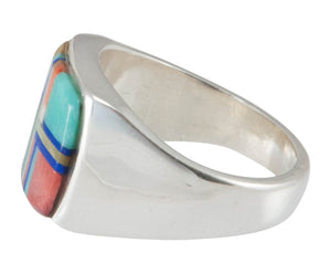 Navajo Native American Multi Stone Inlay Ring Size 6 1/4 by Cooeyate SKU230449