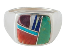 Load image into Gallery viewer, Navajo Native American Multi Stone Inlay Ring Size 7 3/4 by B Joe SKU230450