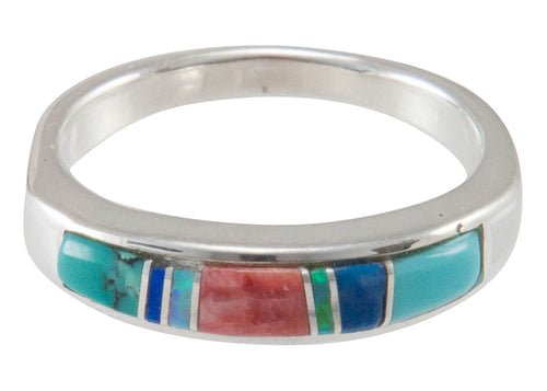 Navajo Native American Turquoise Inlay Ring Size 9 by Bernadine Joe SKU230452
