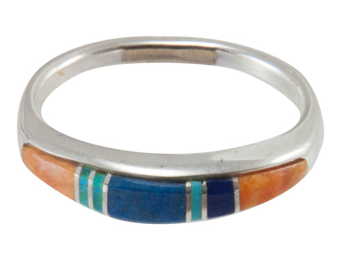 Navajo Native American Turquoise Inlay Ring Size 6 3/4 by B Joe SKU230455