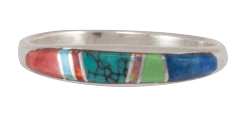 Navajo Native American Turquoise Inlay Ring Size 9 by Bernadine Joe SKU230456