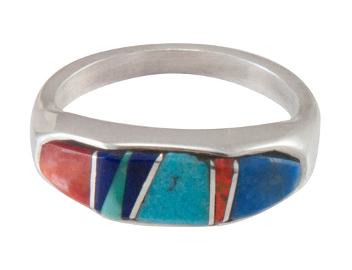 Navajo Native American Turquoise Inlay Ring Size 6 by Bernadine Joe SKU230464
