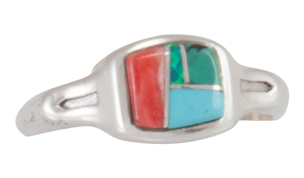 Navajo Native American Turquoise Inlay Ring Size 8 by Bernadine Joe SKU230469