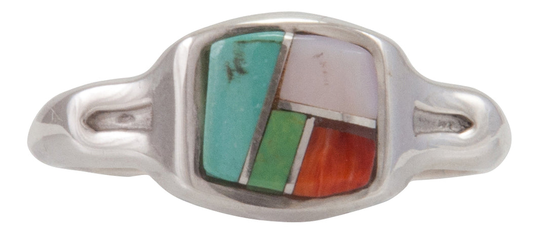 Navajo Native American Turquoise Inlay Ring Size 7 1/2 by B Joe SKU230470