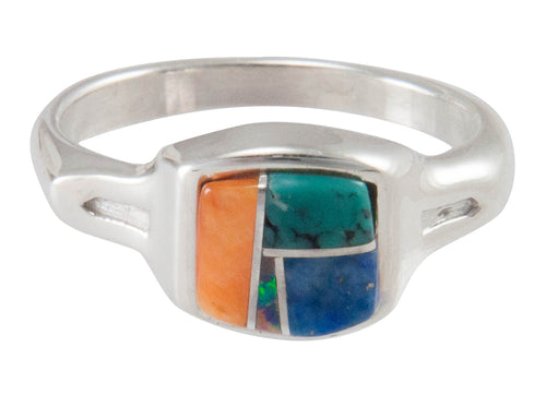 Navajo Native American Turquoise Inlay Ring Size 6 3/4 by B Joe SKU230473