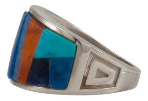 Navajo Native American Turquoise Inlay Ring Size 9 1/2 by Robertson SKU230479