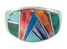 Load image into Gallery viewer, Navajo Native American Turquoise Inlay Ring Size 8 by Sophia Lincoln SKU230480