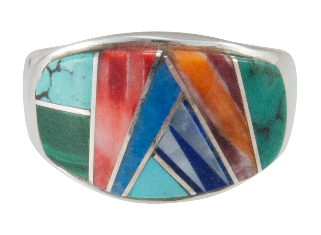 Navajo Native American Turquoise Inlay Ring Size 8 by Sophia Lincoln SKU230480