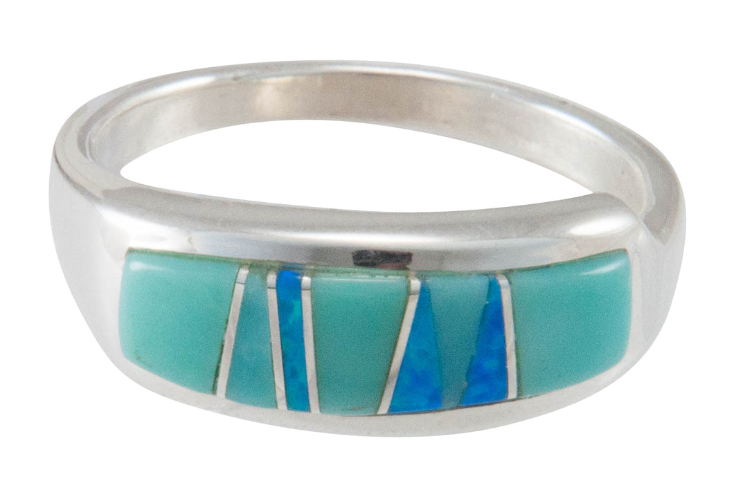 Navajo Native American Turquoise Inlay Ring Size 10 by C Henry SKU230482