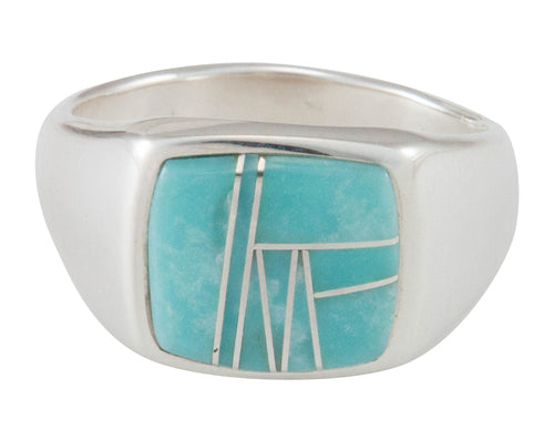 Navajo Native American Turquoise Inlay Ring Size 12 1/4 by C Henry SKU230484