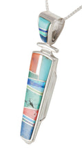 Load image into Gallery viewer, Navajo Native American Turquoise Inlay Pendant Necklace by Henry SKU230486
