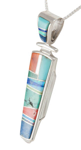 Navajo Native American Turquoise Inlay Pendant Necklace by Henry SKU230486