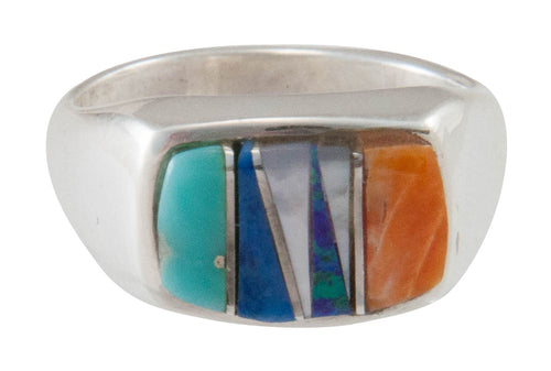 Navajo Native American Turquoise Inlay Ring Size 6 1/2 by B Joe SKU230490