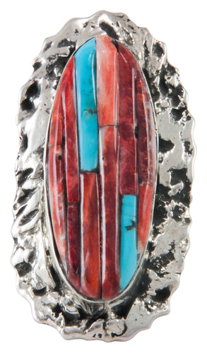 Navajo Native American Turquoise and Orange Shell Ring Size 9 SKU230492