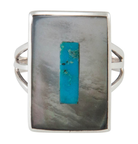 Zuni Native American Turquoise and Shell Ring Size 8 1/2 by Coonsis SKU230502