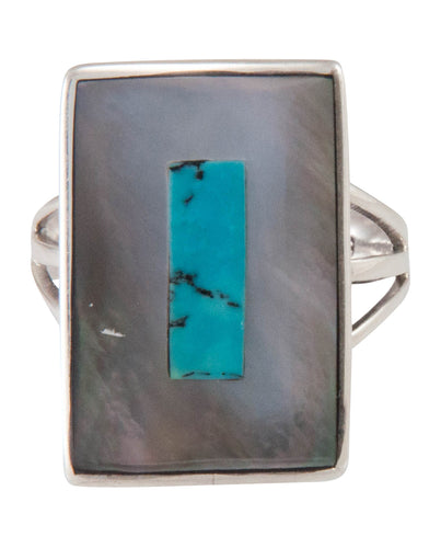 Zuni Native American Turquoise and Shell Ring Size 8 by Coonsis SKU230504