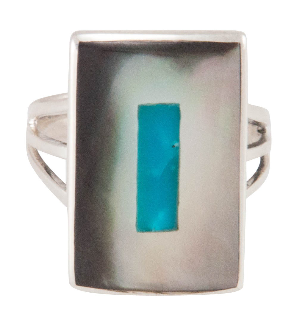 Zuni Native American Turquoise and Shell Ring Size 8 1/2 by Coonsis SKU230505