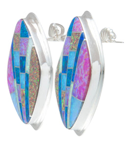 Navajo Native American Created Opal Inlay Earrings by Tommy Jackson SKU230533