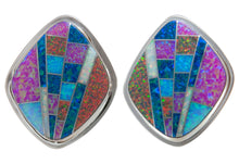 Load image into Gallery viewer, Navajo Native American Created Opal Inlay Earrings by Tommy Jackson SKU230533